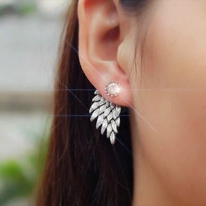 🆕 Angel Wings Crystal Earring Jacket Studs